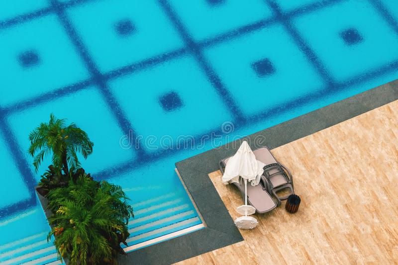 Deserted hotel pool in the rain on a summer day, top view, background. Deserted hotel pool in the rain on a summer day, top view, background stock photos