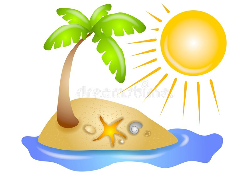 Deserted Island Beach Sun. A clip art illustration of a palm tree ona deserted island with beach shells, water, and a glowing sun