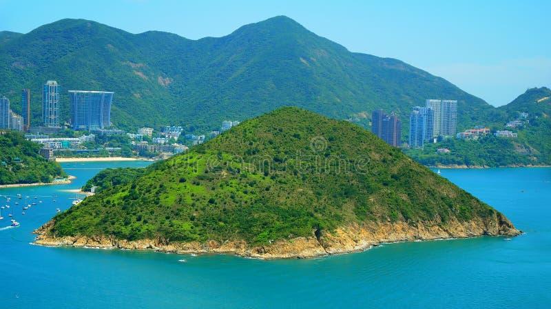 Deserted island at sea. Tropical deserted island at sea. location : hong kong royalty free stock photography