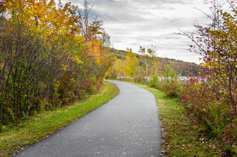 Deserted Lakeside Paved Path in Autumn royalty free stock image
