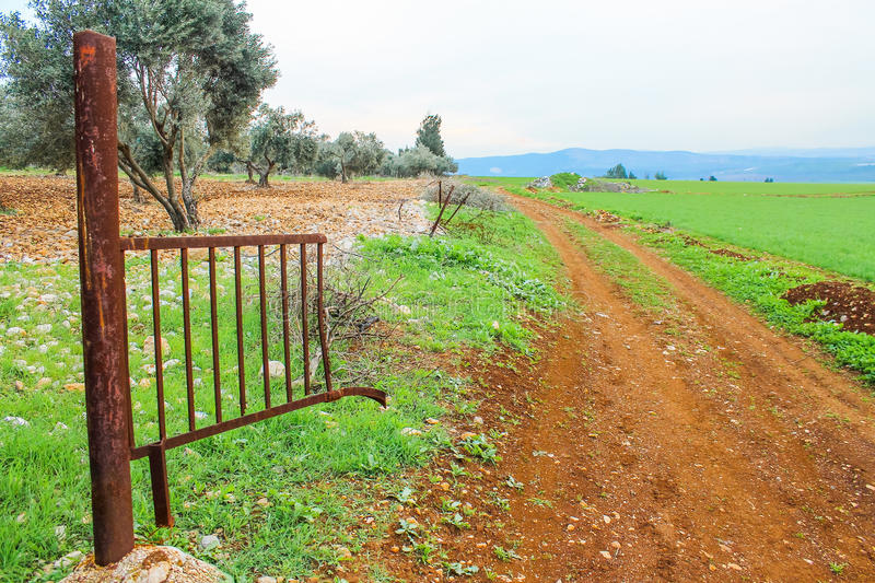 Deserted land. And old gate royalty free stock image
