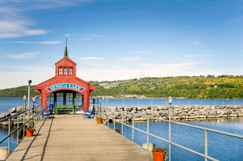 Deserted Pier on a Clear Autumn Day stock photography