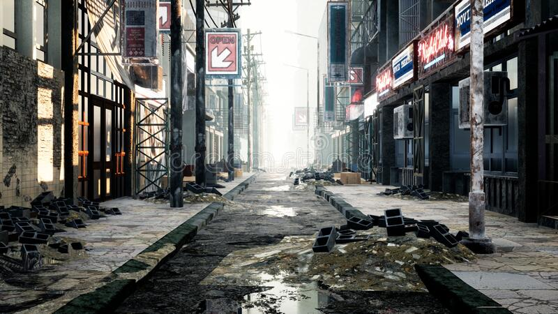 A deserted post-apocalyptic city. The camera flies through the empty ruined city. Deserted post-apocalyptic street in. The ruins of buildings. The Concept of stock photos