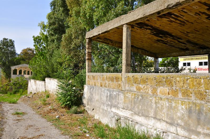 Deserted Racing Complex Grandstand, Floriopolis, Cerda, Sicily. Back Side of the Grandstand Ruins of the Historic Targa Florio Circuit, the oldest Sports Car stock image