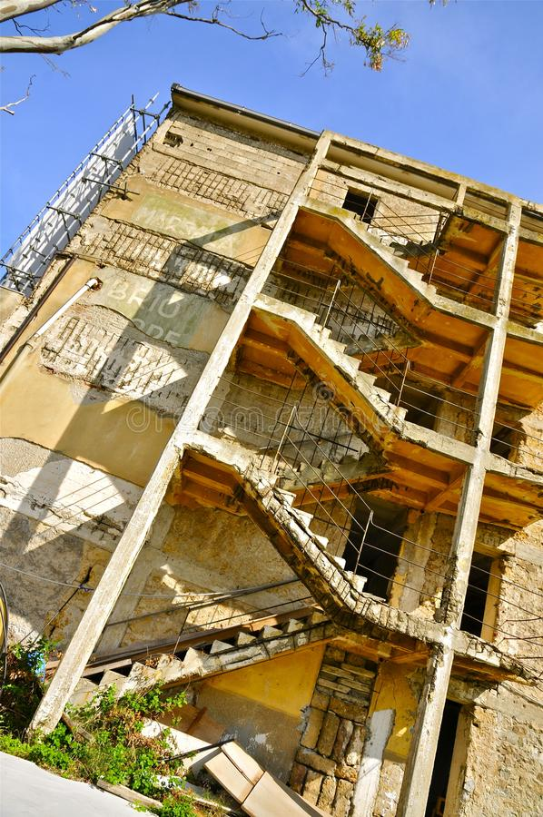 Deserted Racing Complex Grandstand, Floriopolis, Cerda, Sicily. Grandstand Ruins of the Historic Targa Florio Circuit, the oldest Sports Car Racing Event in the stock photography