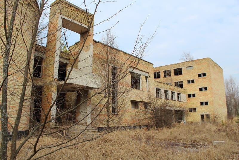Deserted School in Chernobyl Zone. Atmosphere of Desolation in Chernobyl Zone royalty free stock image