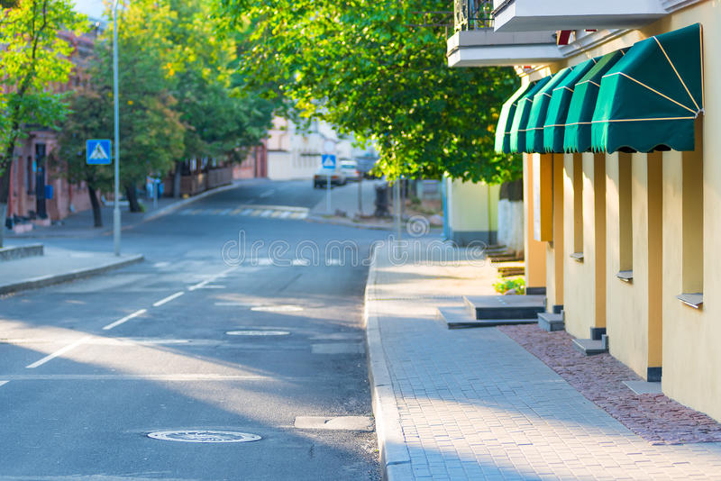 Deserted street European city. In the morning royalty free stock image