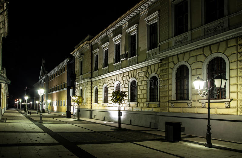 Deserted street at night. Deserted pedestrian street at night, Sighetu Marmatiei, Romania stock photography