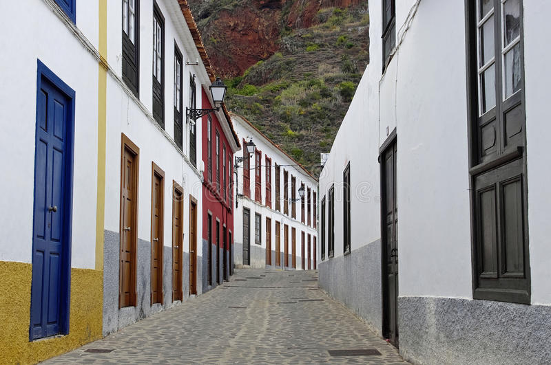 The deserted streets in Agulo town. La Gomera, Canary Islands, Spain royalty free stock photos