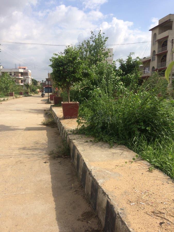 Deserted view of Nova Nagar,Patna. Deserted view of Nova Nagar colony during noon of Rainy season in Patna, India royalty free stock photography
