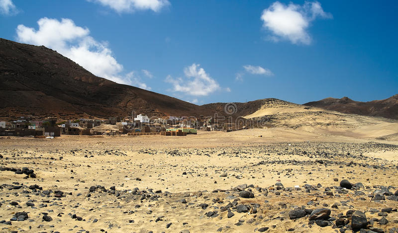 Deserted village in a desert on Cape Verde islands royalty free stock photos