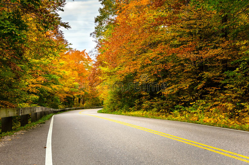 Deserted Winding Road on a Cloudy Autumn Day royalty free stock photography