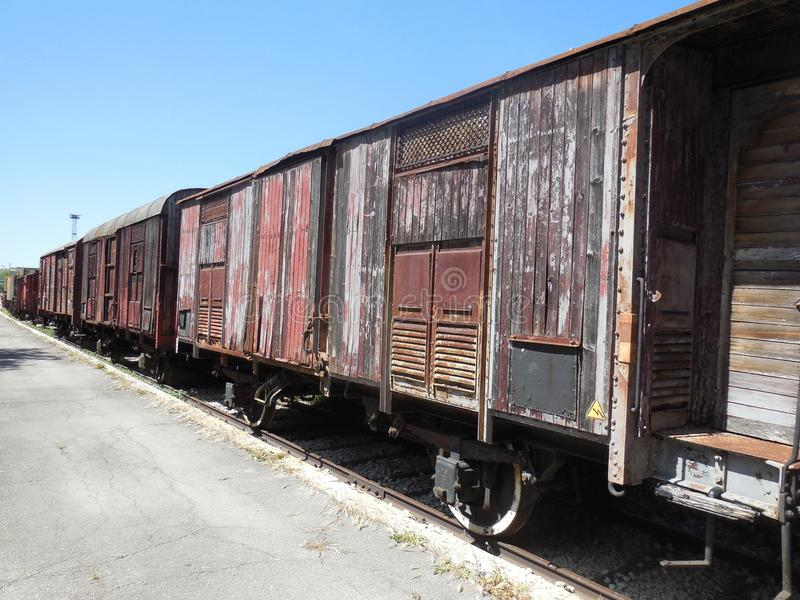 Deserted Wooden Train Cars royalty free stock images