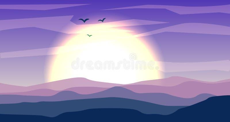 Desertera det panorama- landskapet med dyn och solnedgången, solnedgång i blåa och magentafärgade färger Lugna ökenbakgrund, dyn  stock illustrationer