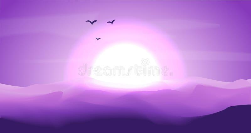 Desertera det tomma panorama- landskapet med dyn och solnedgången, solnedgång i blåa och magentafärgade färger Lugna ökenbakgrund royaltyfri illustrationer