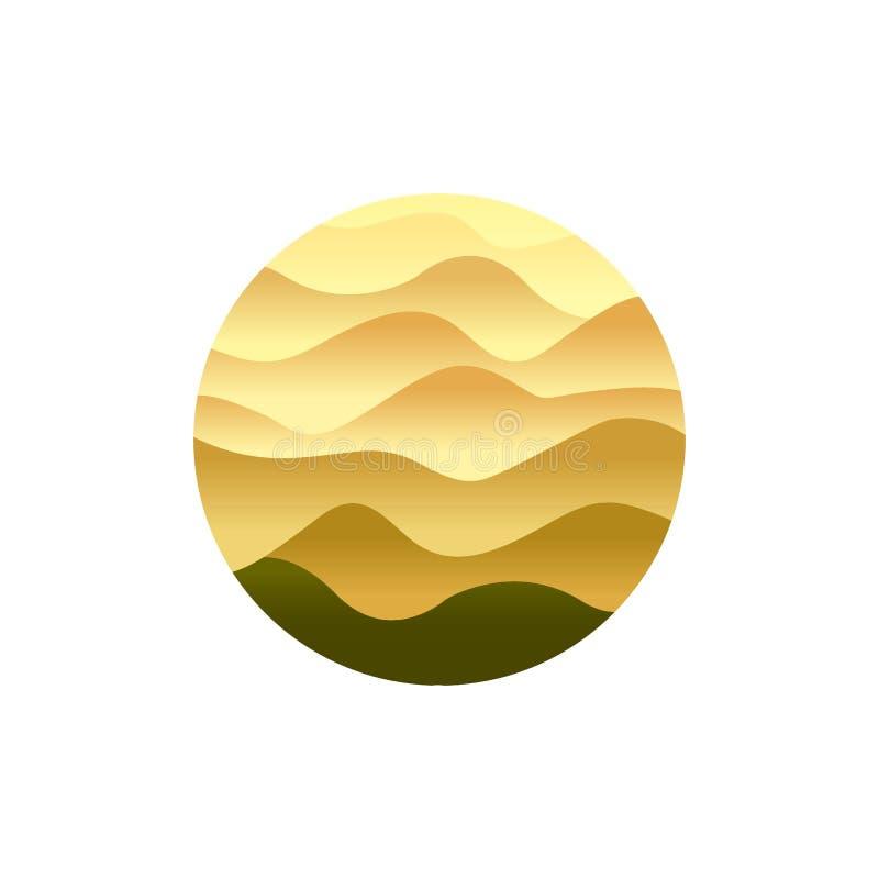 Desertera emblemet, sandpappra vinkande dyn, gulingöknen, mall för logo för sahara det torra landskapet isolerad vektorabstrakt b royaltyfri illustrationer
