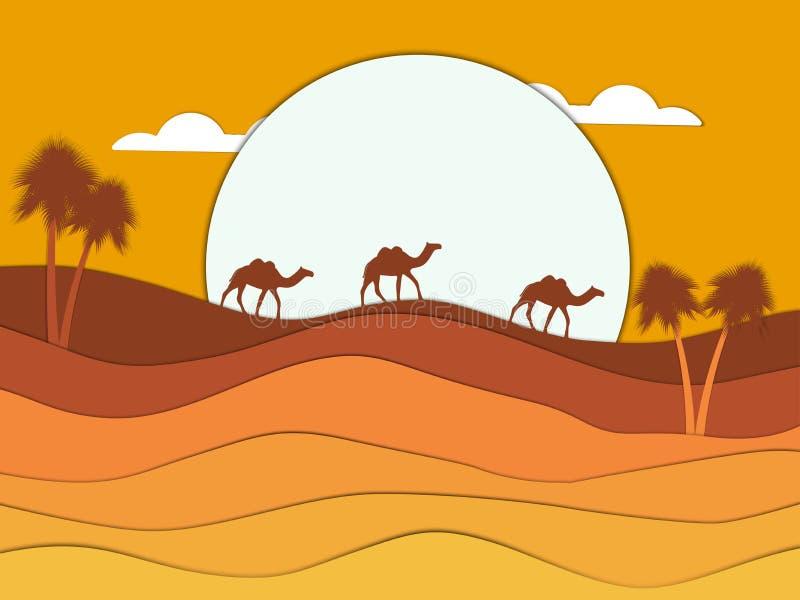 Desertera landskapet med en husvagn av kamel i bakgrunden av solen egypt Pappers- stil vektor royaltyfri illustrationer