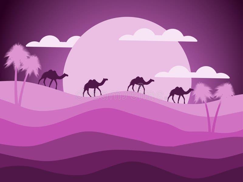 Desertera landskapet med en husvagn av kamel i bakgrunden av solen vektor stock illustrationer