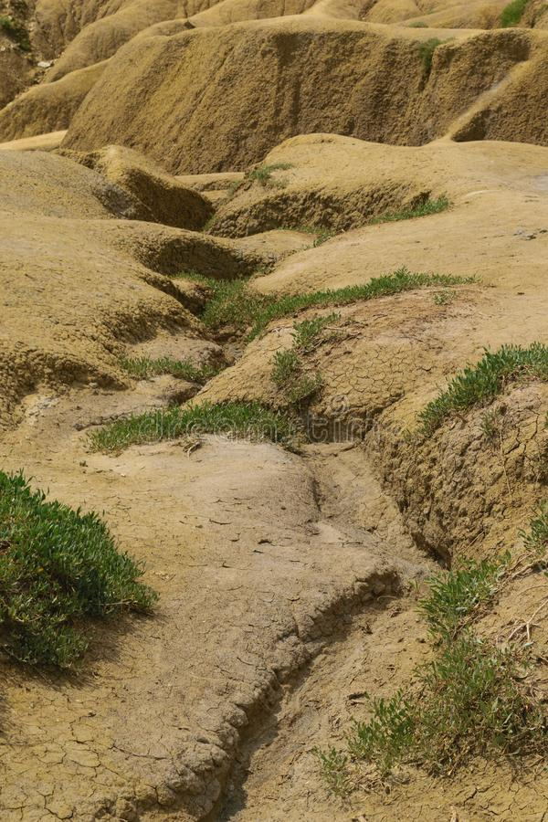 Desertification of the land - eroded landscape.  stock photo