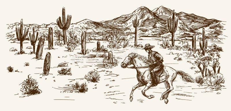 Deserto ad ovest selvaggio americano con il cowboy illustrazione di stock
