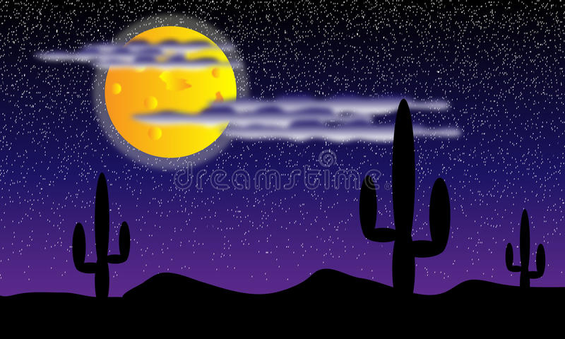 Deserto com as plantas do cacto na noite ilustração stock