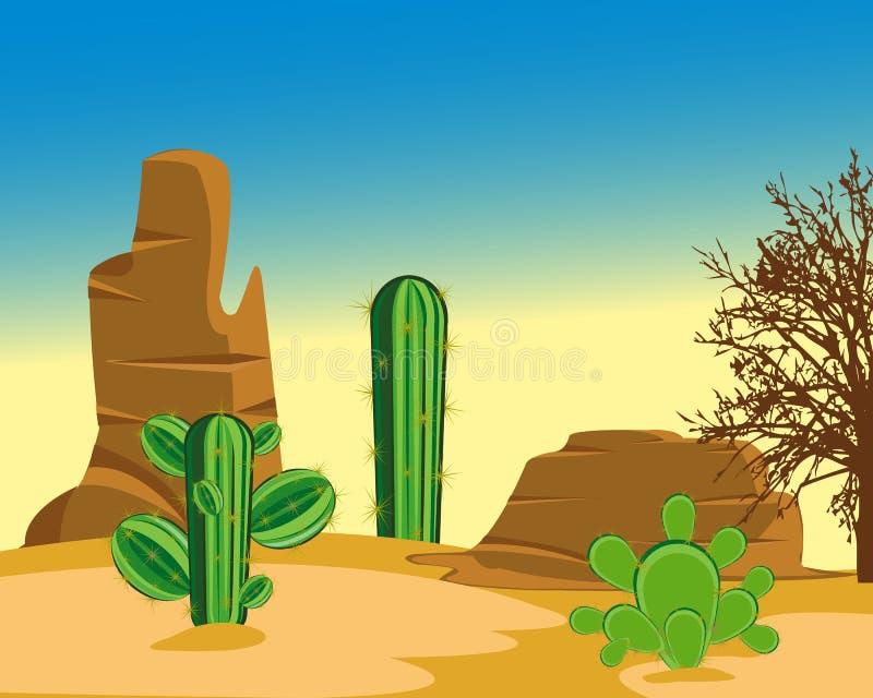 Deserto com cacto ilustração do vetor
