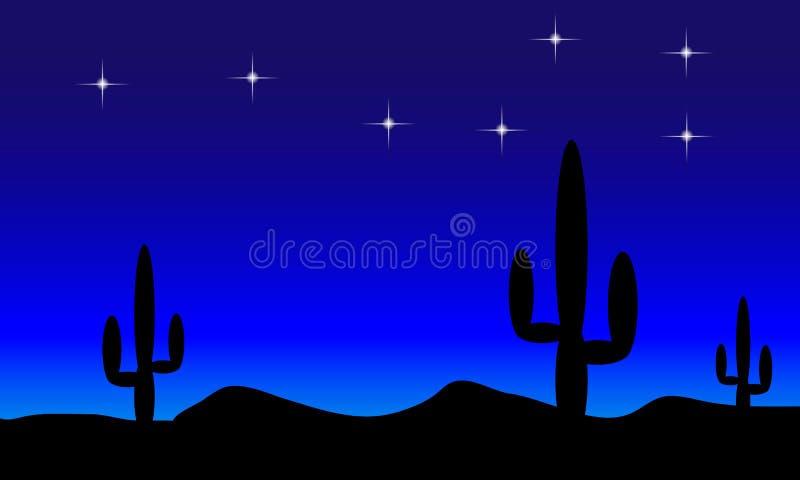 Deserto com plantas do cacto. Noite ilustração stock