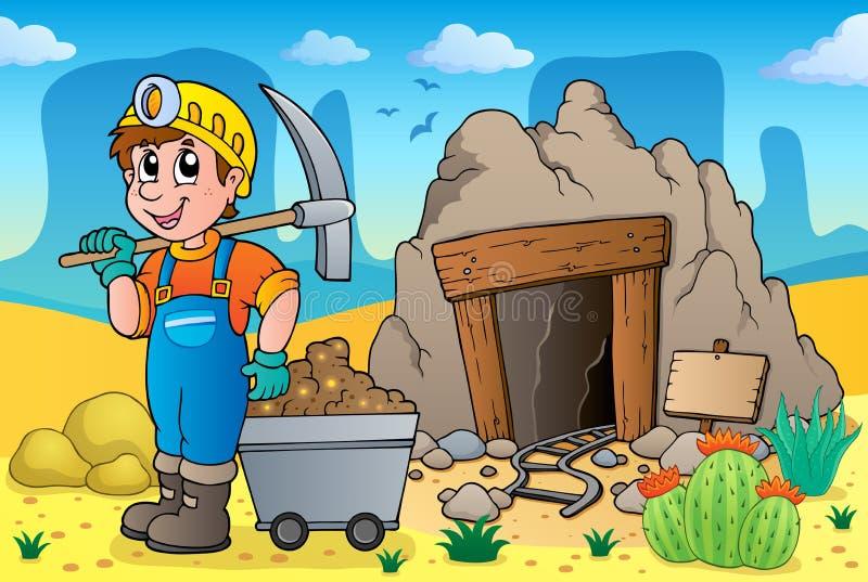 Deserto com tema velho 2 da mina ilustração do vetor