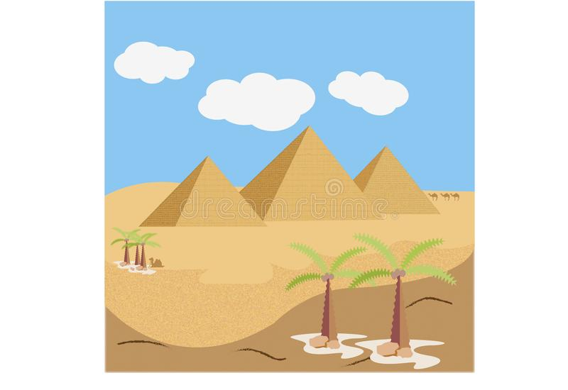 Deserto con le piramidi ed i cammelli illustrazione vettoriale