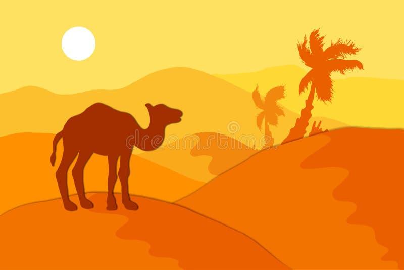 Deserto da areia com camelo ilustração stock