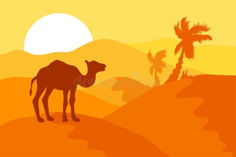 Deserto da areia com camelo ilustração do vetor