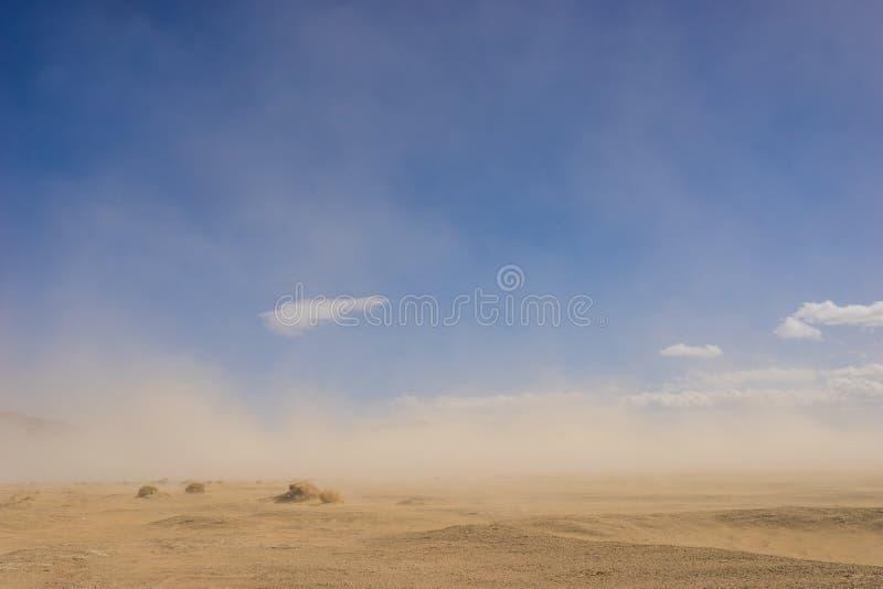 Deserto da areia na tempestade do vento fotografia de stock