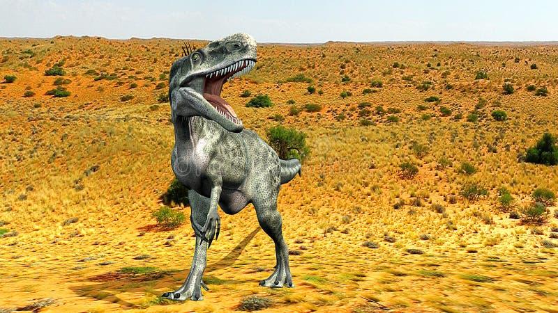 Deserto de Monolophosaurus ilustração stock