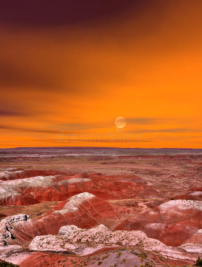 Deserto dipinto alba fotografie stock libere da diritti