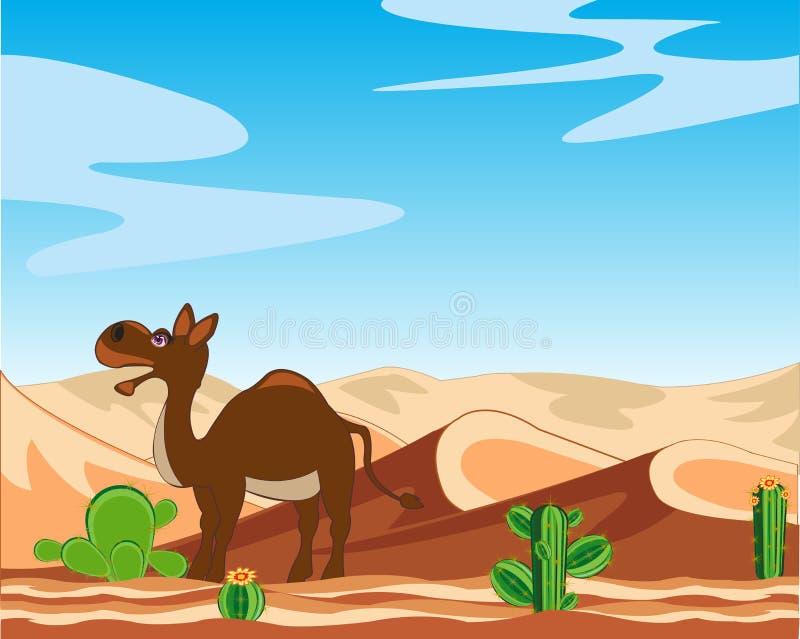 Deserto e camelo ilustração stock