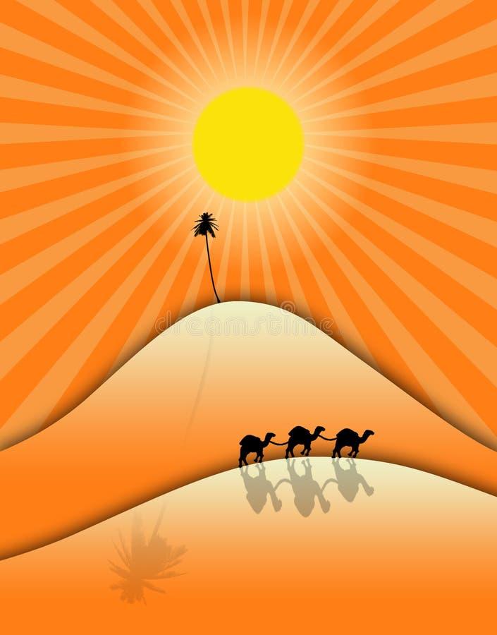 Deserto e camelos ilustração stock