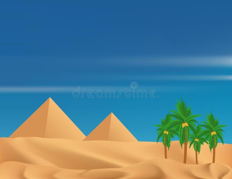 Deserto e pirâmides ilustração stock