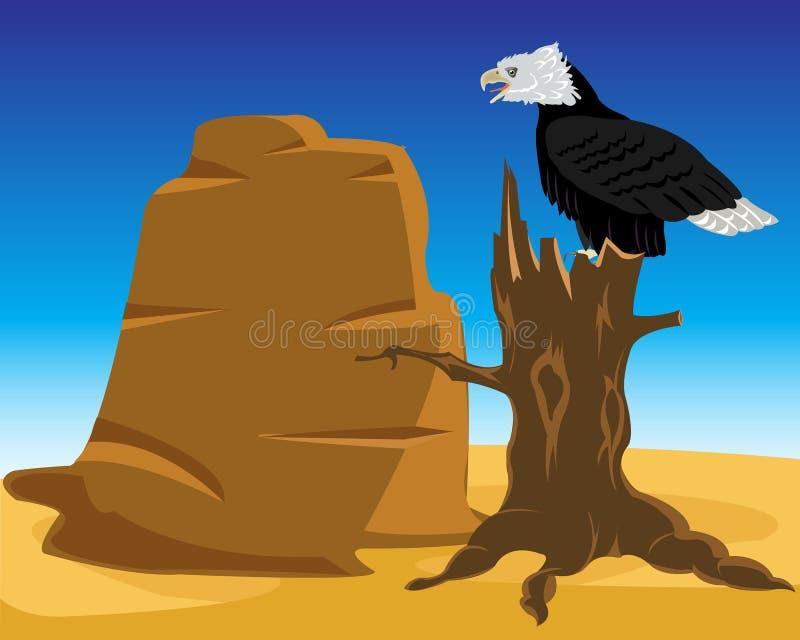 Deserto ed aquila sull'albero illustrazione di stock