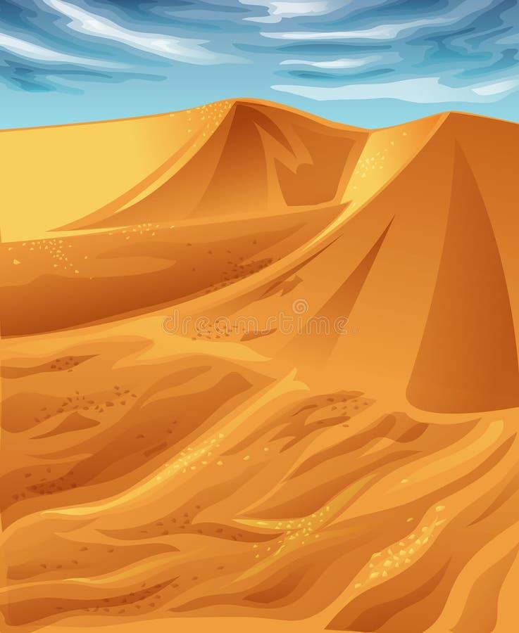 Deserto ensolarado do vetor e céu azul ilustração do vetor