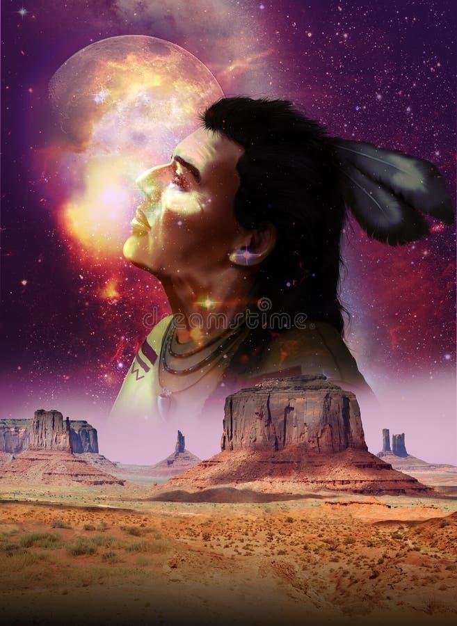 Deserto, estrelas e nativo americano ilustração stock