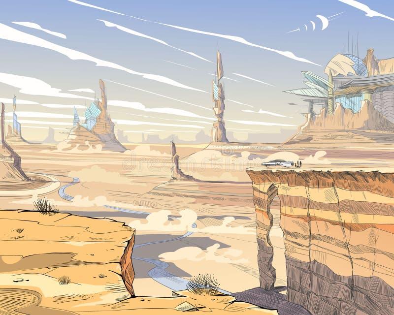 Deserto fantastico della città Illustrazione di arte di concetto Veicoli fantastici, montagne, la gente PA disegnato a mano di ve royalty illustrazione gratis