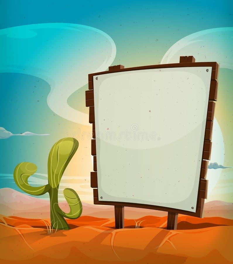 Deserto mexicano do verão com sinal de madeira ilustração royalty free