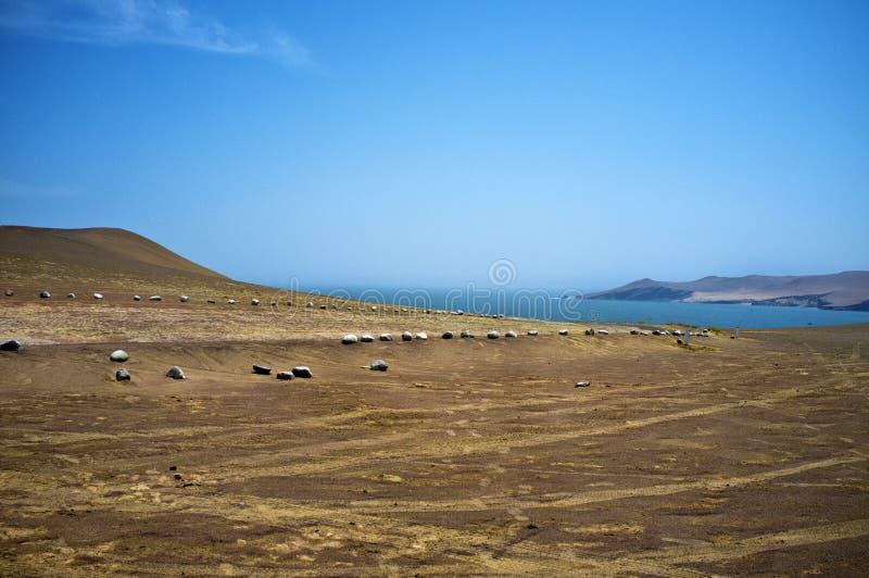Deserto - parco nazionale di Reserva National de Paracas nell'AIC Perù, Sudamerica fotografia stock