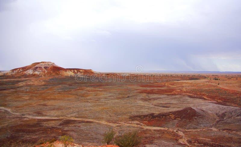 Deserto pintado durante uma tempestade da chuva imagem de stock