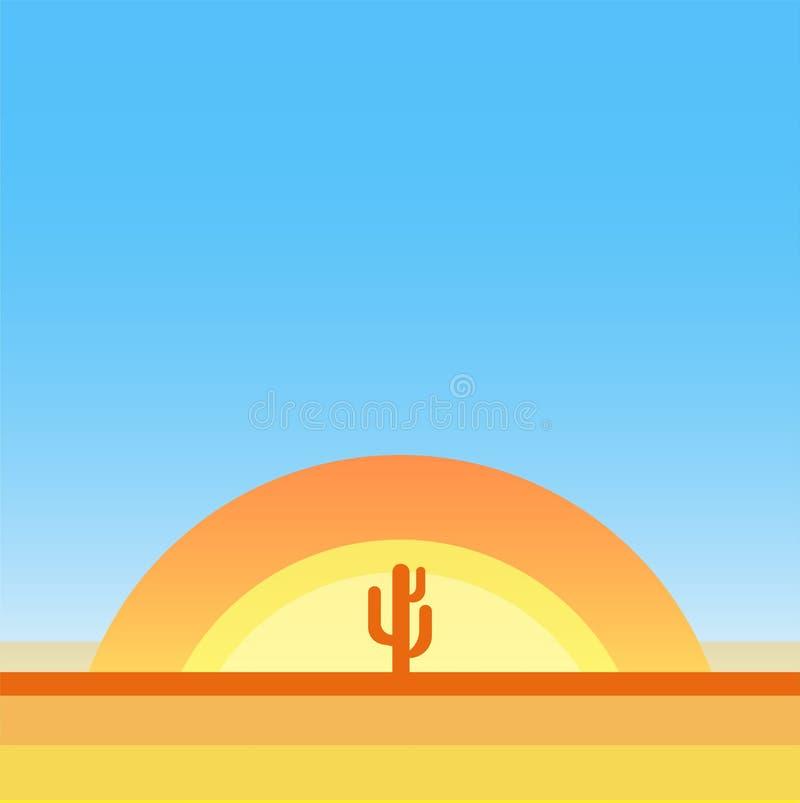 Deserto quente - paisagem dos desenhos animados do vetor com espaço da cópia ilustração stock