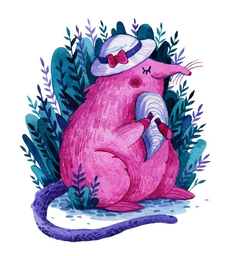 Deserto rosa di colore rosa in cappello bianco con guscio nelle zampe illustrazione vettoriale