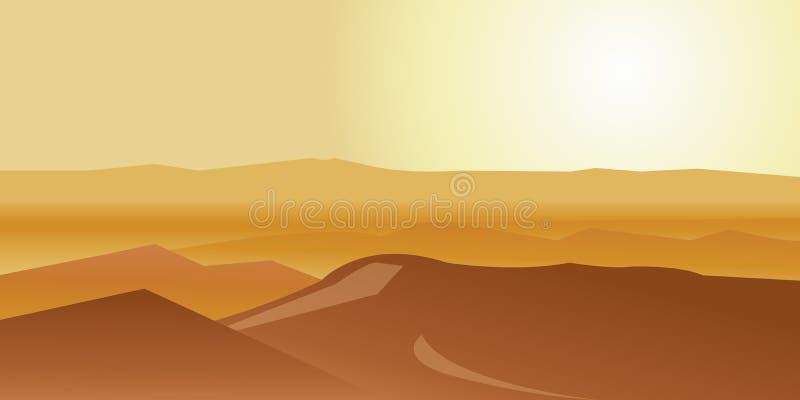 Deserto seco sob o sol ilustração stock