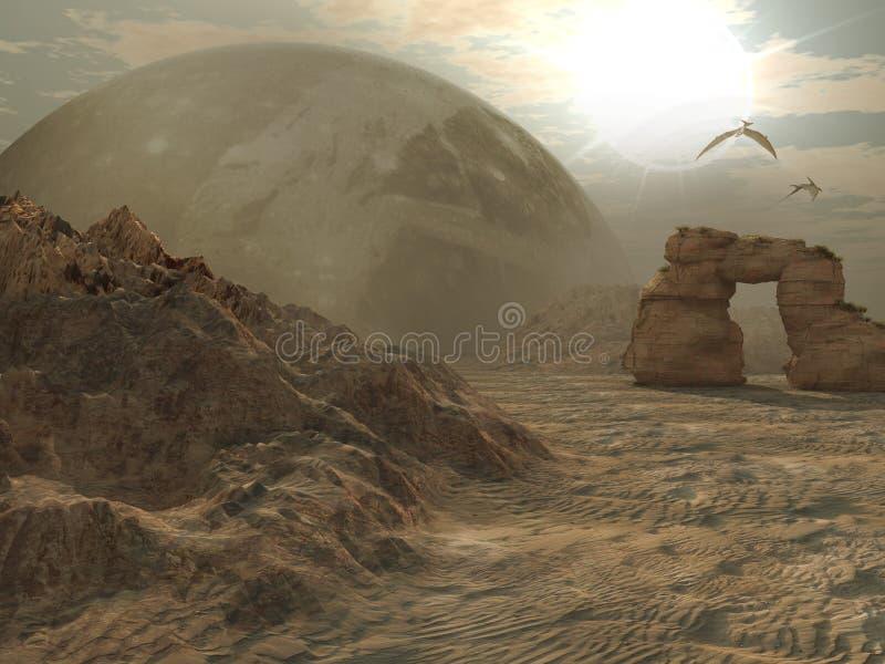 Deserto straniero del pianeta illustrazione di stock