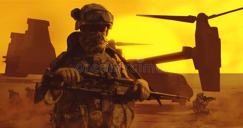 Deserto transportado por via aérea dos soldados foto de stock