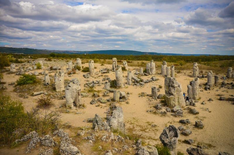 Deserto Varna Bulgária da pedra de Forest The da pedra de Pobiti Kamani imagem de stock
